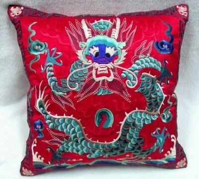 Полная вышивка дракон китайская наволочка 42x42 см квадратная декоративная Рождественская наволочка для подушки высокого класса подушка для поддержки поясничного отдела - Цвет: Красный
