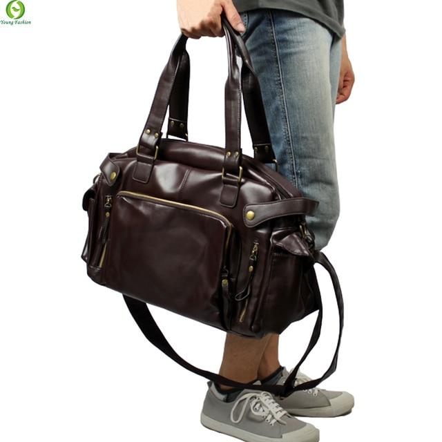 Новая Мода Многофункциональный Мужская кожа PU Дорожные Сумки Бренда Водонепроницаемый Старинные мужчины сумки посыльного высокого качества сумки на ремне