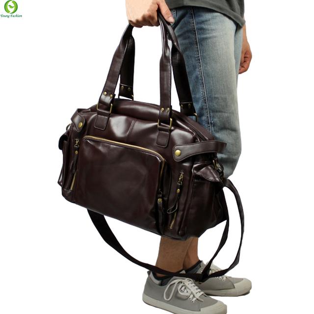 Nueva Moda Multifunción Para Hombre de cuero de LA PU Bolsas de Viaje Marca Impermeable hombres Vintage bolsas de mensajero de alta calidad bolsos de hombro