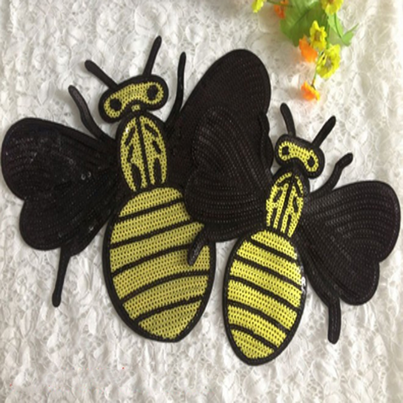 2016new arrival large/ small bee sequin Embroidered patch Motif Applique  For Clothing Sewing DIY Parent