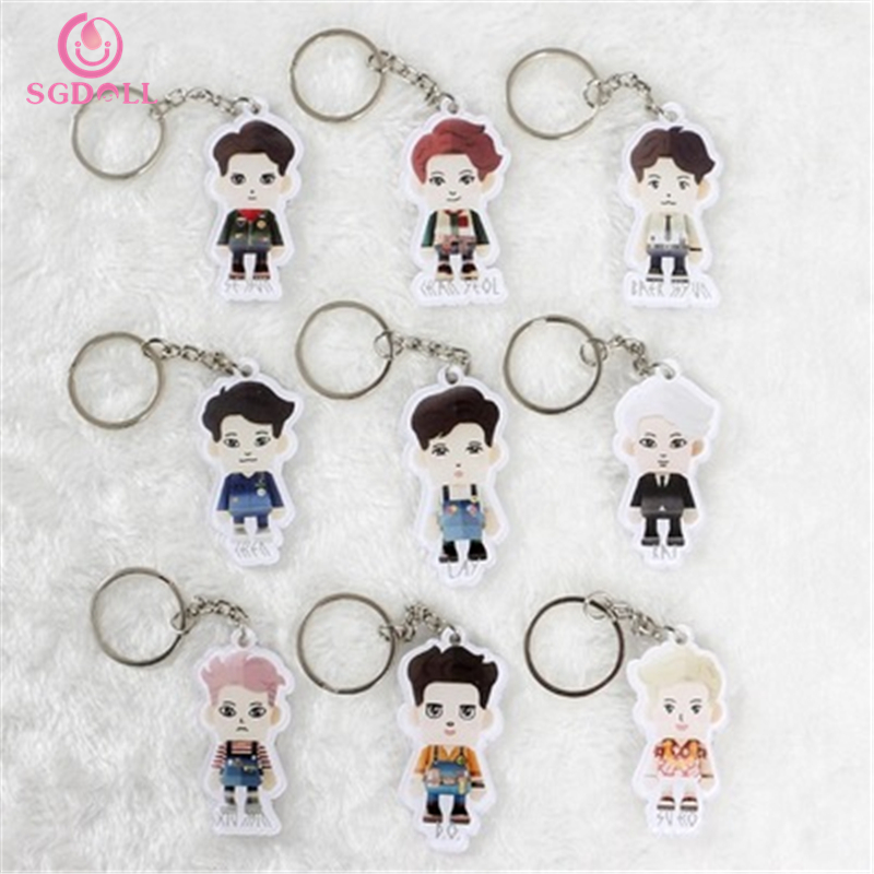 sgdoll 2016 new kpop exo key chain cartoon chanyeol sehun lay cute acrylic keyring ring keyfob free shipping 16090309