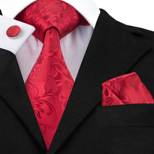 Лучший!  2015 Мода Ярко-Красный Цветочные Классические Галстуки Шелковый Галстук Ханки Запонки Набор Для