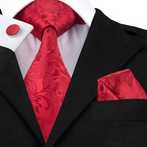 Hi-Tie Red Set Floral Silk Ties for Men Business Classic