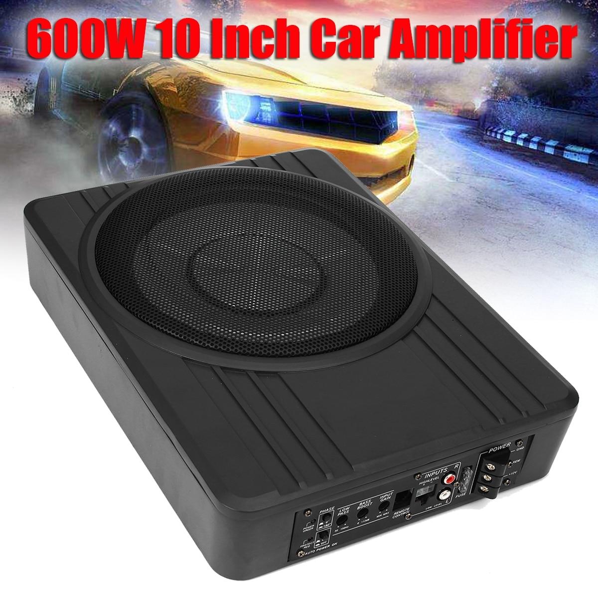 10 600W Car Active Subwoofer Speaker Audio Amplifier Vehicle Subwoofer Bass Amplifier Enclosure Auto Sound Car Audio Amplifier ysdx 596 silicone subwoofer amplifier speaker for ipod grey