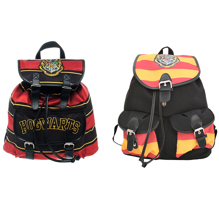 100% Official Harry Potter Backpack Printing Stripped Canvas Cartoon Flap Cover Pockets Children School Bag Backpacks