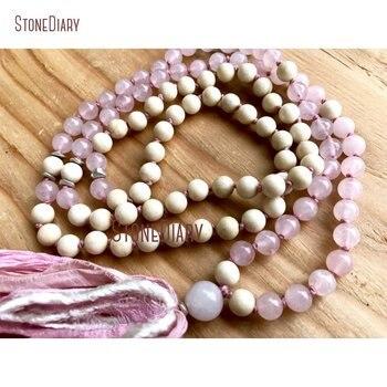 Healing Rose Quartzs Riverstone Mala Necklace Summer Fashion Heart Chakra Silk Sari Long Tassel Mala Beads Necklace NM11101