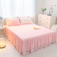 100% Cotton Pink Princess Bed sheet Pillowcase Double Queen King Size 1/3pcs Solid Color Mattress Cover Girl edspread Bed Skirt