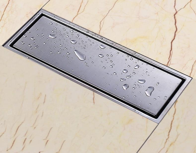 free shipping 304 tile insert rectangular floor waste grates bathroom shower drain 300x 110mm 304