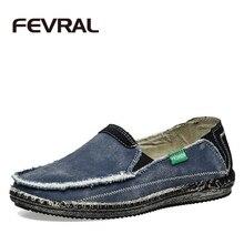 FEVRAL Marke Neue Ankunft Niedrigen Preis Herren Atmungs Hochwertige Freizeitschuhe Jeans Leinwand Freizeitschuhe Männer Mode Wohnungen Loafer