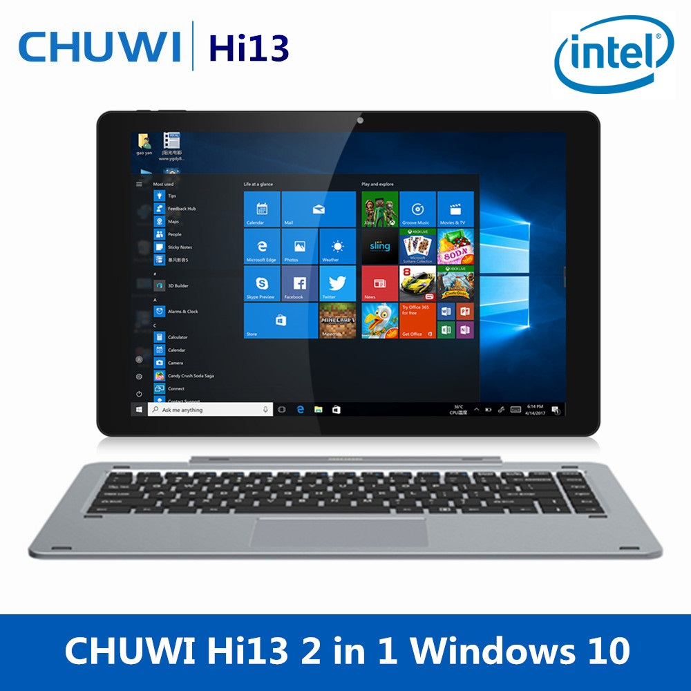 CHUWI Hi13 13.5 Inch 2 In 1 Tablet Windows 10 Intel Celeron N3450 Quad Core 4GB RAM 64GB Dual WiFi Laptop Camera With Keyboard цена