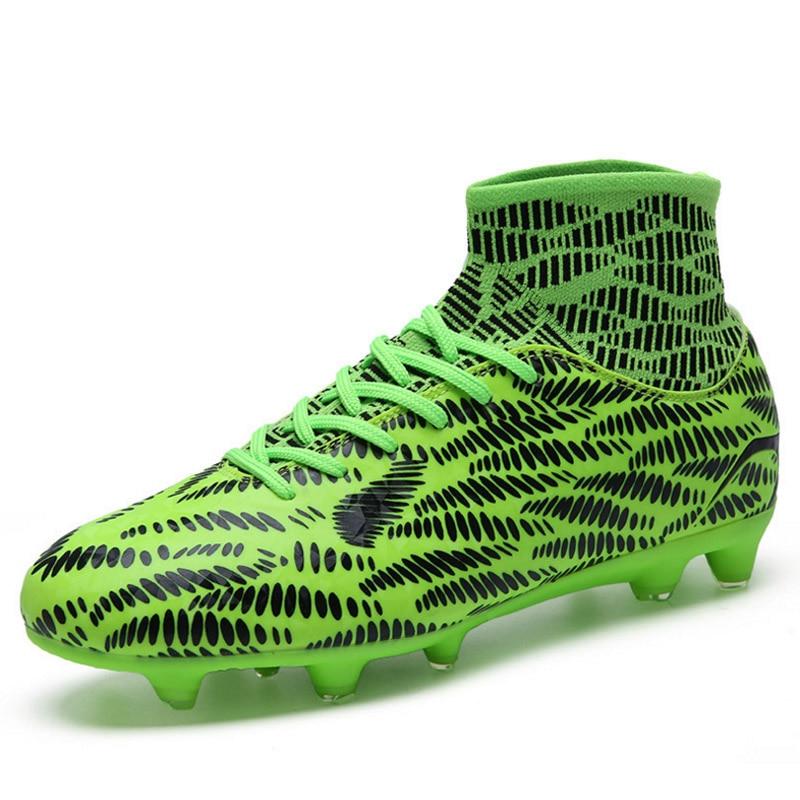 Chaussures de Football professionnel hommes hautes bottines semelle extérieure crampons chaussures de Football crampons longues pointes bottes de Traing en plein air