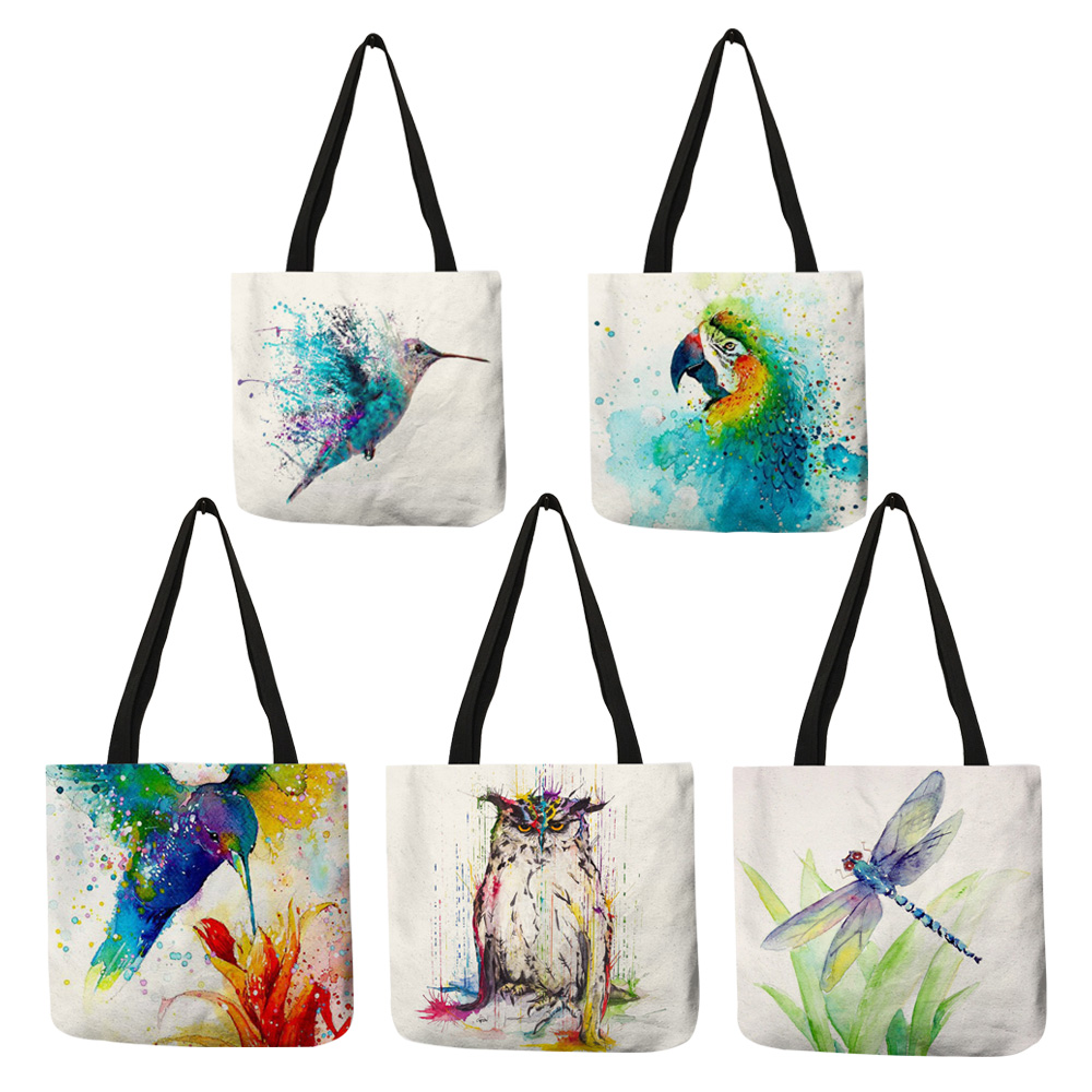 Watercolor Animal Art Linen Tote Bag With Print Reusable Shopping Bags Casual Fashion Handbags For Women