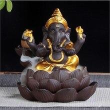 Elephant God Backflow Incense Burner India Censer Holder Gifts Meditation Ornaments Home Office Decoration Crafts