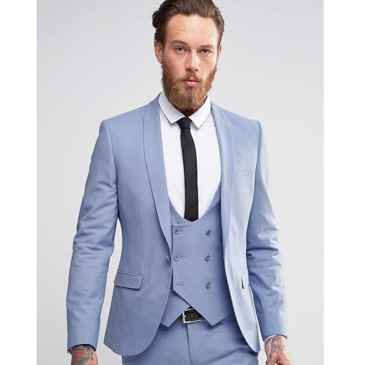 2019 mode bleu clair garçon Tuxedos pic revers enfants costume pas cher sur mesure enfant mariage costumes de bal (veste + gilet + pantalon + cravate)