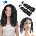 Predazzle Ivy Dear Pre Plucked 360 Lace Frontal With 2 Bundles Brazilian Deep Curly 8A Human Hair with 360 Closure Deep Wave
