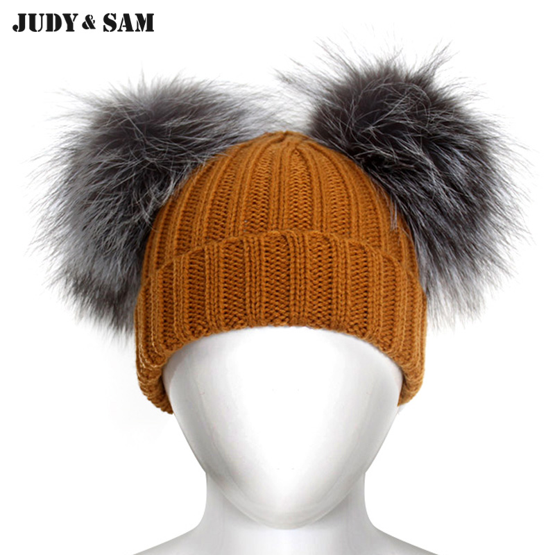 Fashion Kids Knitting Hats and Caps with Luxurious 2 Silver Fox Fur Pom Poms Skullies Beanies Winter Head Wear for Boys new star spring cotton baby hat for 6 months 2 years with fluffy raccoon fox fur pom poms touca kids caps for boys and girls