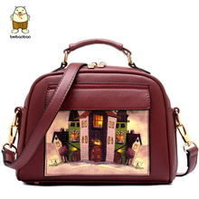 Beibaobao 2017 Landscape Oil Printing Women Leather Handbags Female Tote Bolsa Bag Circular Messenger Bags B005