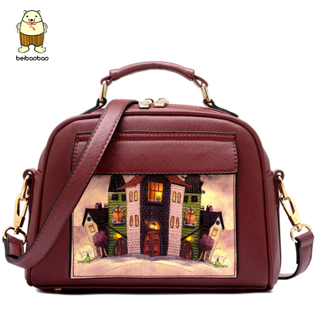 Beibaobao Ladies Tote 2017 Landscape Oil Printing Women Handbag Female Clutch Bolsa Women Bags Elegant Women Messenger Bags B005