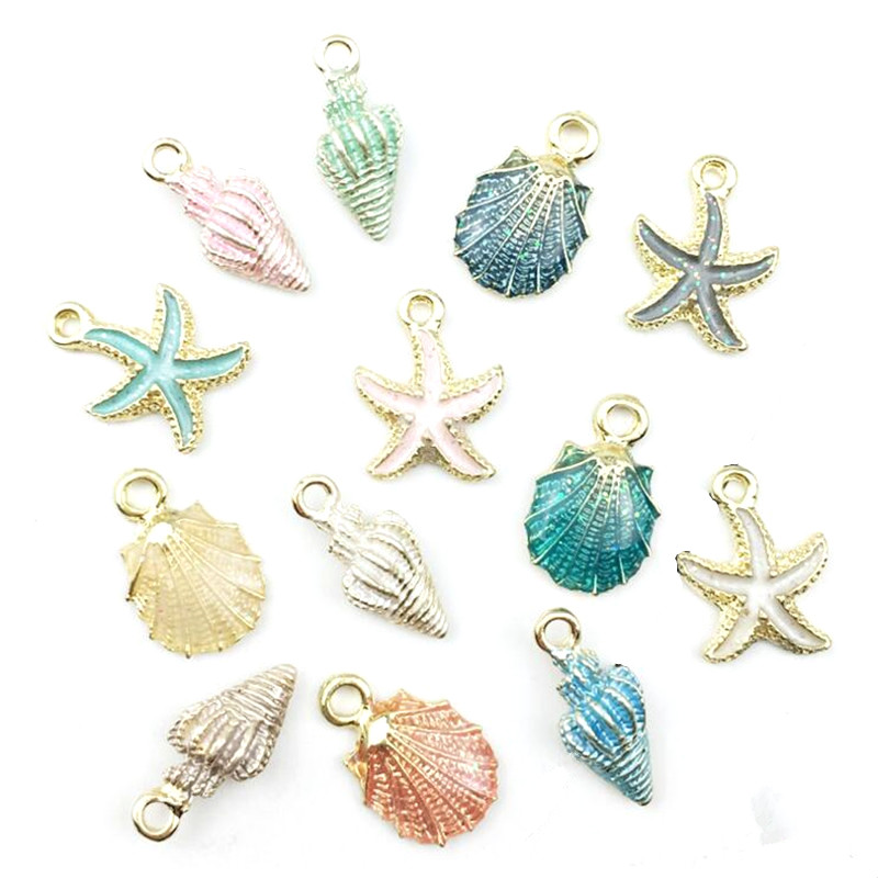 10pcs Coloful Nautical Ocean Starfish Shell Conch Sea Enamel Charms DIY Bracelet Necklace Earring Jewelry Accessory DIY Craft in Charms from Jewelry Accessories