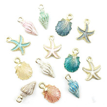 10pcs Coloful Nautical Ocean Starfish Shell Conch Sea Enamel Charms DIY Bracelet Necklace Earring Jewelry Accessory Craft