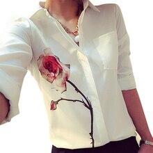 Новый Дизайн женщин Белый Полный Рукав Вырос Цветок Печатных Блузка Turn Down Воротник Шифон Рубашки CS003