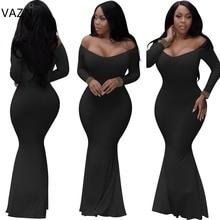 VAZN 2018 New Arrival High Fashion Bandage Dress Full Sleeve Maxi Dress Sexy Strapless Long Club Dress White Black 2269