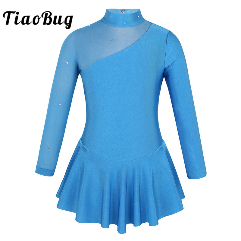 TiaoBug Kids Girls Ballroom Figure Ice Skating Dress Rhinestone Tulle Long Sleeves Child Gymnastics Leotard Ballet Dance Costume