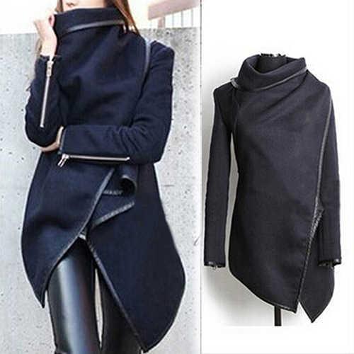 Vrouwen Mode Herfst Asymmetrische Onregelmatige Lange Mouw Trenchcoat Windjack