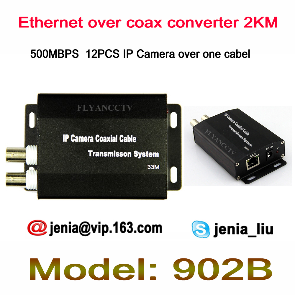 High Quality Ethernet Extender over coax one cable converter 2KM for 3MP 2MP IP cameras, RJ45 Network Video over coaxial cable ...
