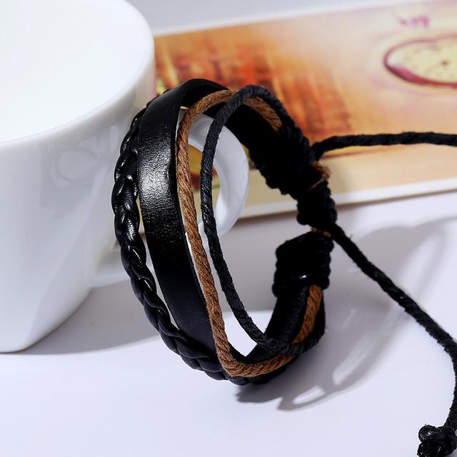 Stylish Hemp Rope Bracelet Matched with Braided Genuine Leather