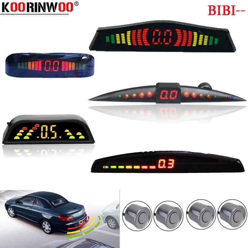 Koorinwoo Parktronic LCD Monitor Colorful Car Parking Sensor 4 Radars Buzzer Car Detector Backlights Alert Indicator Black White