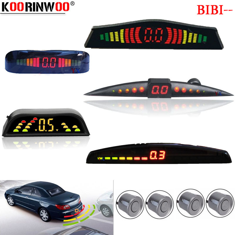 Koorinwoo Parktronic LCD Monitor Colorful Car Parking Sensor 4 Radars Buzzer Car Detector Backlights Alert Indicator Black White