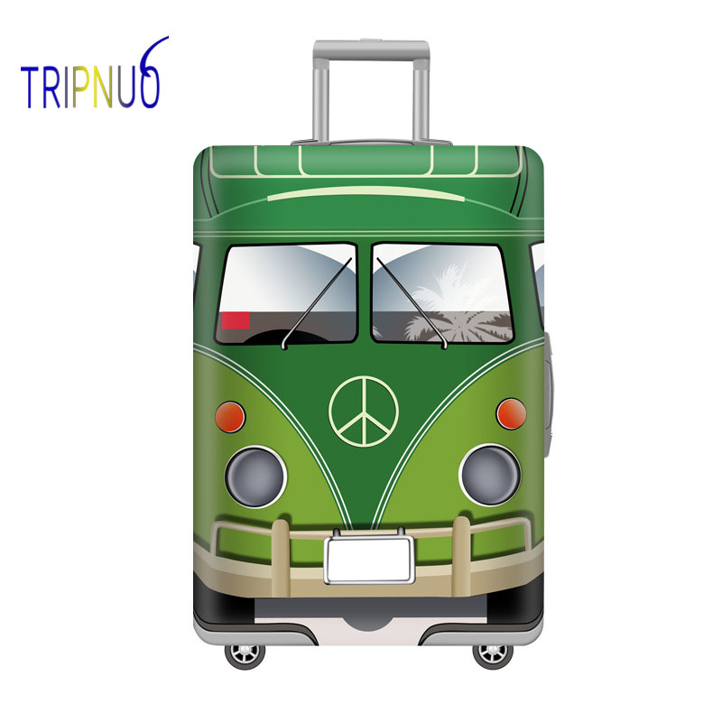 TRIPNUO Green Bus Elastic Thickest Luggage Suitcase Protective Cover For19-32 Inch Protect Dust Bag Case Cartoon Travel Cover