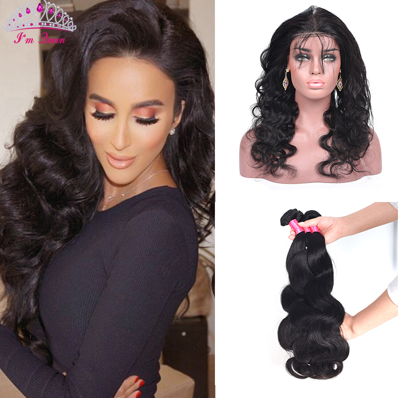 Pre Plucked 360 Lace Frontal With Bundle Brazilian Body Wave Virgin Hair 4PCS 360 Frontal With Bundles With Baby Hair Human Hair