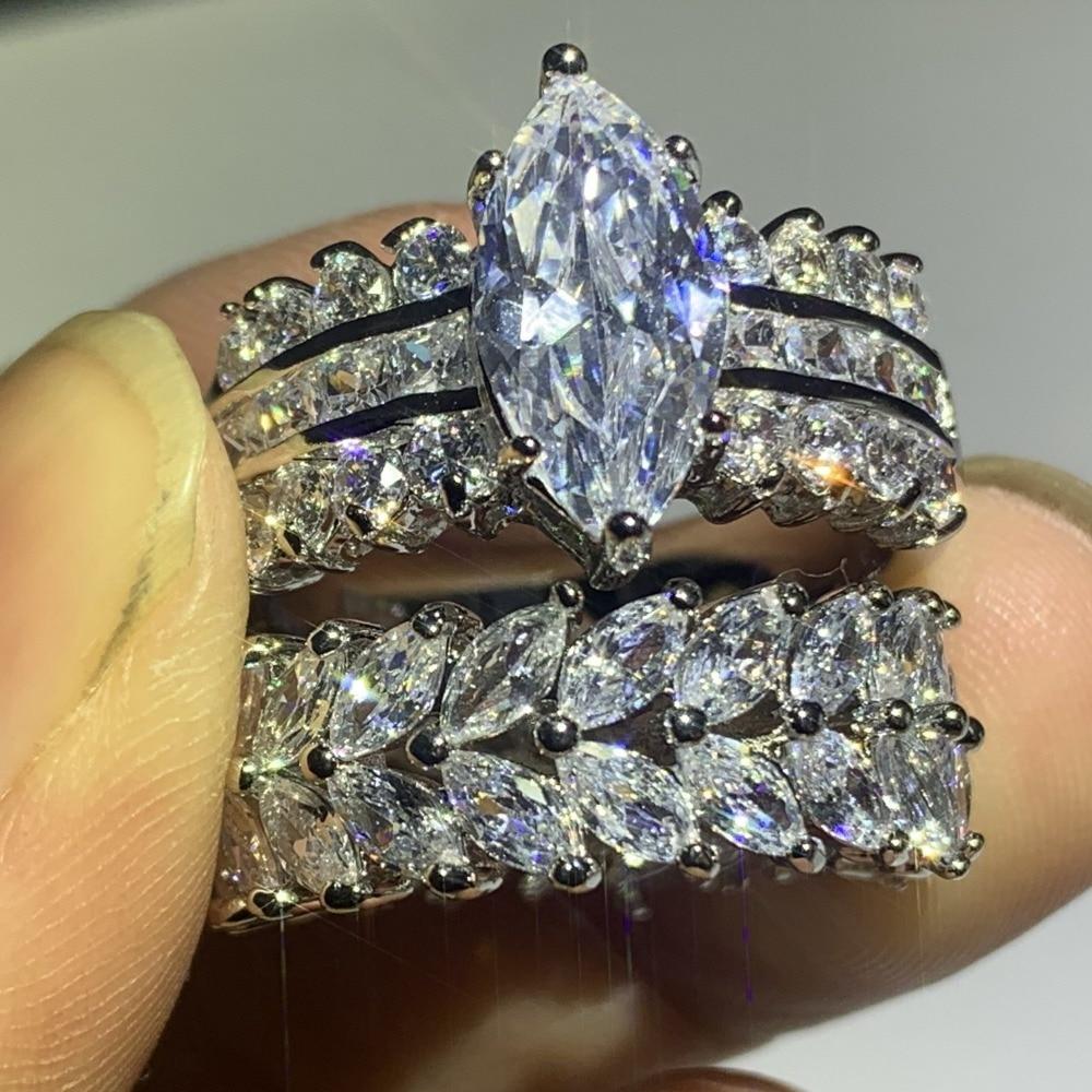 Image 3 - 90% オフスーパーディール見事な高級ジュエリー 925 スターリングシルバーマーキス 5A CZ ジルコニアドロップ配送結婚式ブライダルリングセット婚約指輪   -