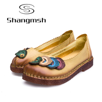 Sweet Women S Flat Shoes Large Size 42 43 Retro Handmade Genuine Leather Silp On Shoes