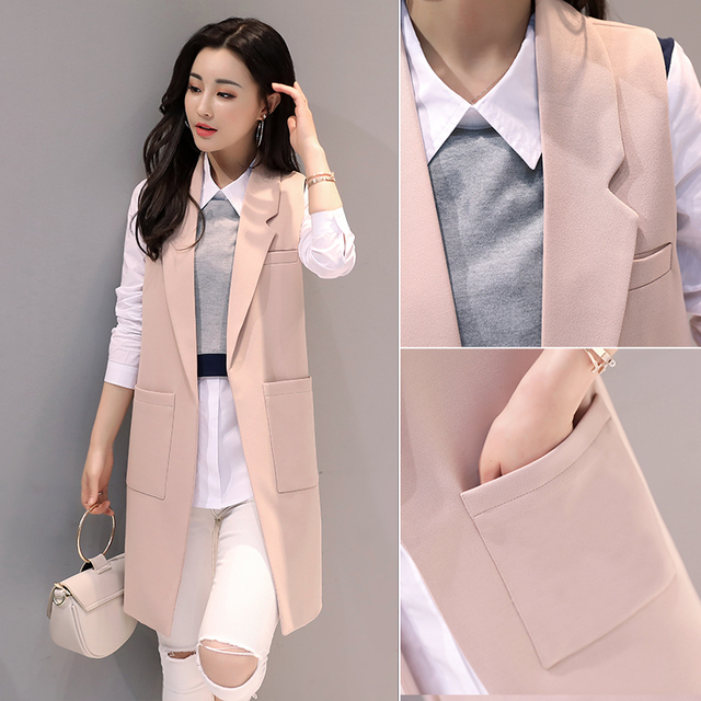 Us 25 72 52 Off Women Blazers And Jackets Causal Pink Blazer Mujer 2018 New Sleeveless Autumn Spring Office Blazer Femme Vest Jacket Long Coats In