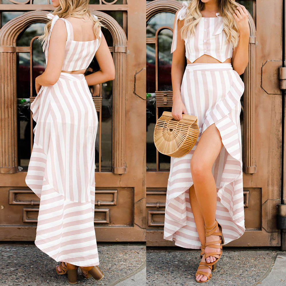 Feitong 2 pieces set Women Casual Sexy Bandage Sleeveless Striped Crop Top Irregular Ruffle Dress Two-Piece Outfit
