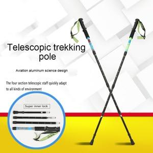 Image 2 - Новый треккинг полюс 4 секции телескопические авиационные алюминиевые походные палки трости ультра светильник палки для скандинавских прогулок телескопические