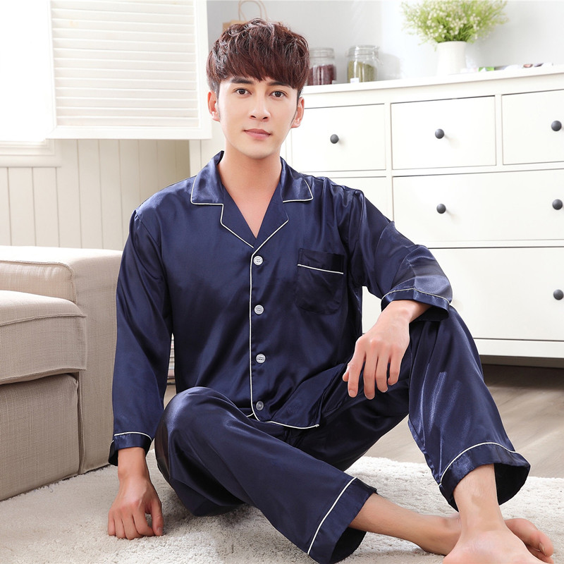 Satin Silk Pajamas Long For Men Autumn Sleepwear Male Pajama Set Soft Nightgown For Men Pyjamas Sleep Lounge Big Size M-3XL
