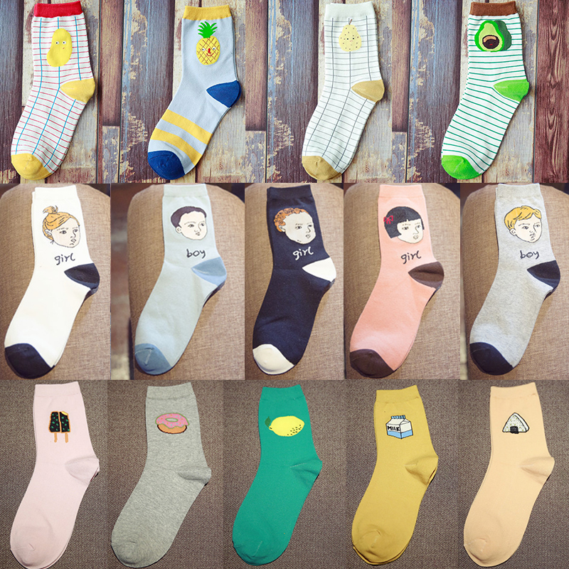 cocotekk new Summer Fashion Women Novel Food Fruit Sweet Series Avocado Cute Cotton Cheap Socks Kawaii Child Face Pattern Socks Methodical