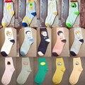 Nueva summer fashion mujeres novela fruta dulce series aguacate lindo algodón calcetines baratos del kawaii niño patrón de la cara larga calcetines