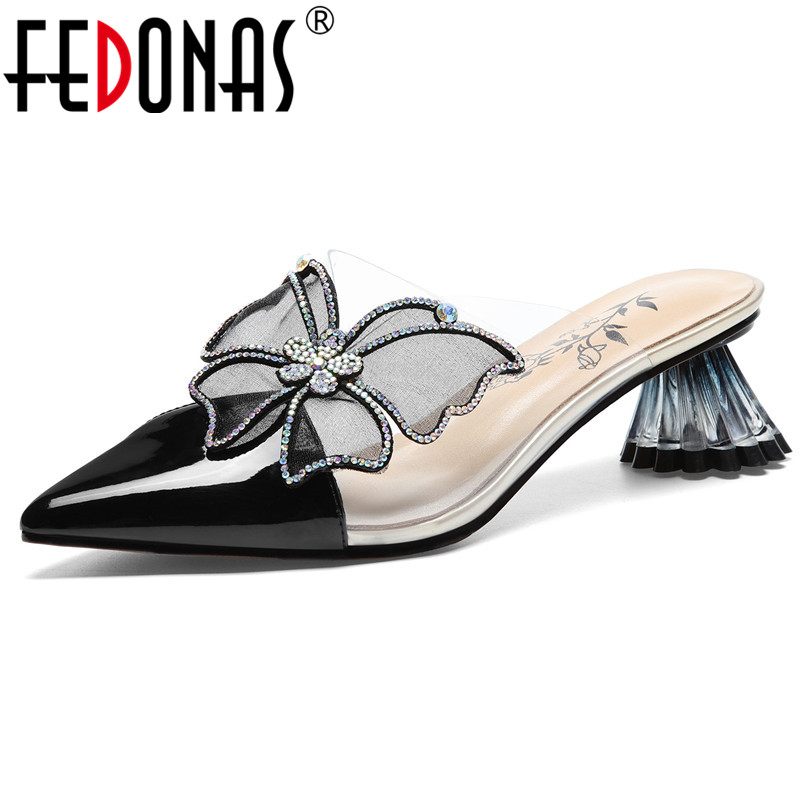 FEDONAS Women Genuine Leather Casual Pumps Butterfly Knot Decoration High Heels Summer Sandals Shoes Woman Rome