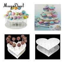 MagiDeal акриловое сердце/круглые 15 отверстий/42 Отверстия леденец держатель торт, поп-дисплей стенд Свадебная вечеринка Декор стойка для конфет Инструменты для торта