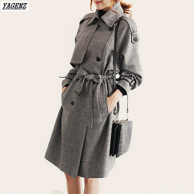 YAGENZ 2017 Spring Autumn Woman Trench Coat  Fashion Costume Medium Long Windbreaker Outwears Loose Large Size Casual Tops Belt 4