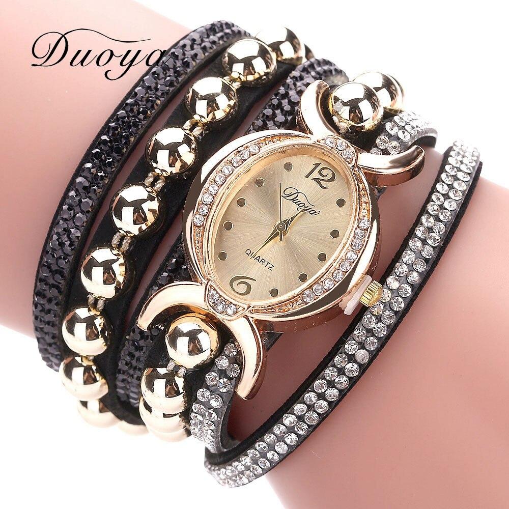 Duoya Women Bracelet Watch Quartz Watch Wristwatch Women Dress Leather Bracelet Watches Montre Femme s39