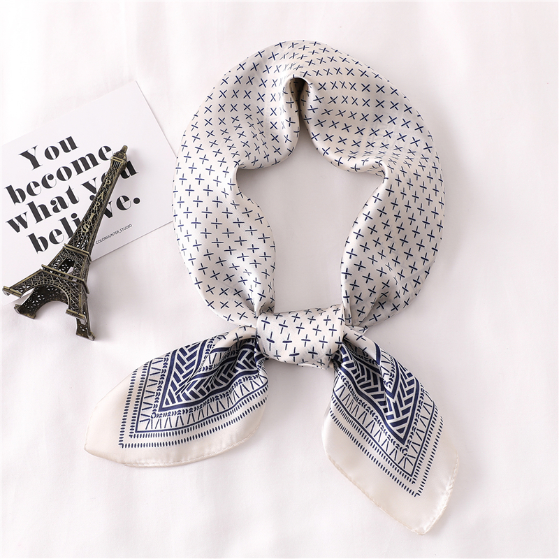 Women Scarf Dot Print Foulard Scarves Silk Shawl For Ladies Square Hair Scarf Ring Fashion Head Scarfs