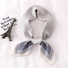 Women Scarf Dot Print Foulard Scarves Silk Shawl for Ladies Square Hair Ring Fashion Head Scarfs