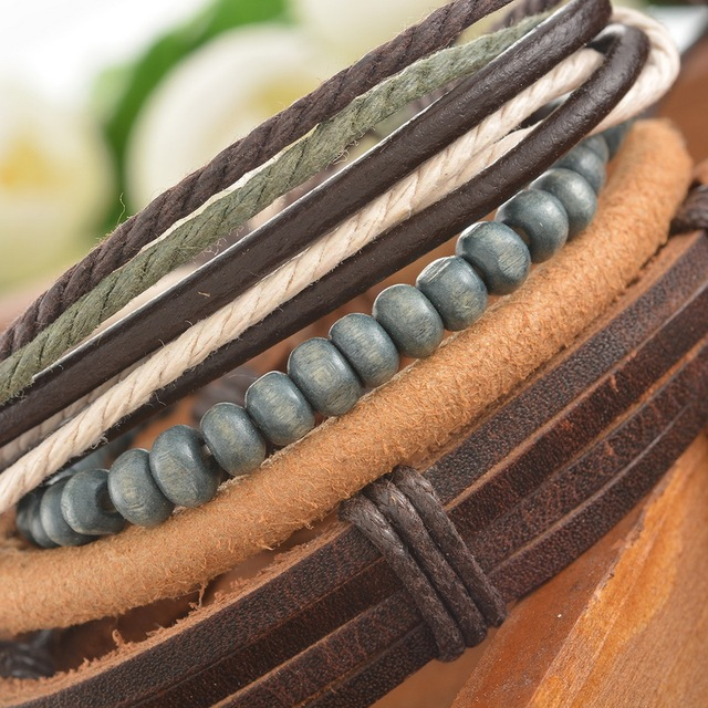 Braided Adjustable Leather Women Men Bracelet Casual Jewelry Cuff 4pcs