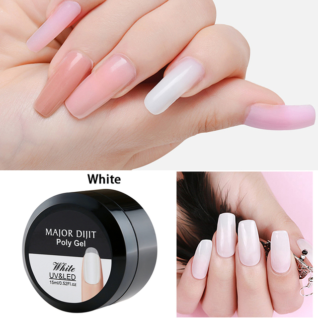 15g/Box Builder Gel White Clear Skin Color Fibre Glass Hard Jelly Quick Building Nail Extend Gum Poly Gel Nail Art